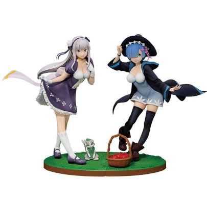 HOBBY COMBO: Re:ZERO -Starting Life in Another World- Ichibansho PVC Statue Emilia + Rem + Gift