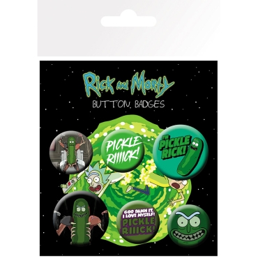 Rick & Morty Pickle Rick Pin Badges 6-Pack