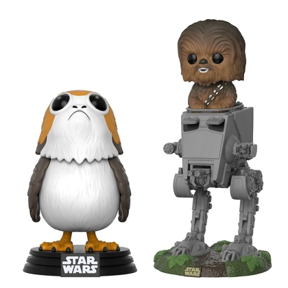 "HOBBY COMBO: "" Star Wars "" Funko POP - Chewbacca (In AT-ST) + Porg Bobble Head + Подарък"
