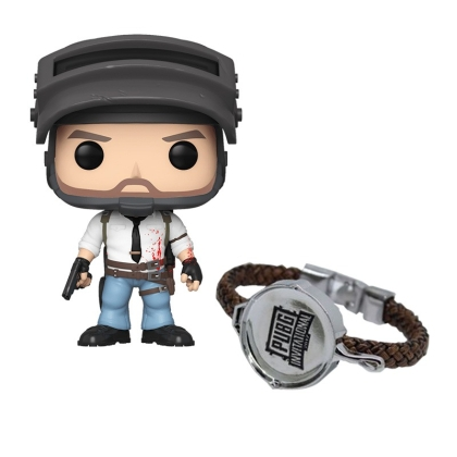 "HOBBY COMBO: "" PlayerUnknown's Battlegrounds "" Leather Bracelet + PlayerUnknown's BattleGrounds - The Lone Survivor Figure + Подарък"