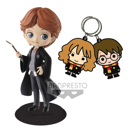 HOBBY COMBO: Collectible Statue/Figure - Ron Weasley + Harry Potter & Hermione Granger Keychain
